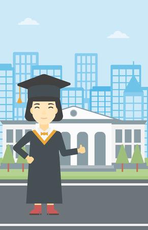 マントと卒業キャップでアジアの幸せな卒業。女子卒業生の親指をあきらめます。大学院教育の建物の背景に祝っています。ベクトル フラットなデ