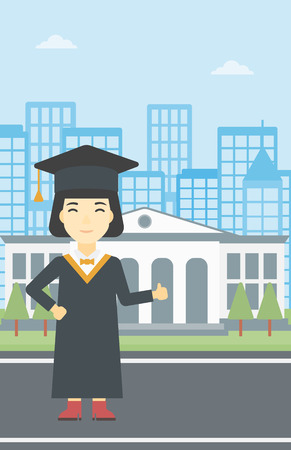graduate asian: An asian happy graduate in cloak and graduation cap. A female graduate giving thumb up. Graduate celebrating on a background of educational building. Vector flat design illustration. Vertical layout.