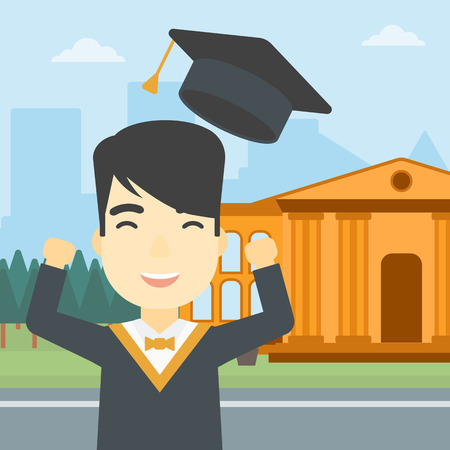 graduate asian: An asian excited graduate in cloak and graduation hat. Graduate throwing up his hat. Graduate celebrating on a background of educational building. Vector flat design illustration. Square layout.
