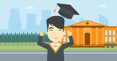 graduate asian: An asian excited graduate in cloak and graduation hat. Graduate throwing up his hat. Graduate celebrating on a background of educational building. Vector flat design illustration. Horizontal layout.