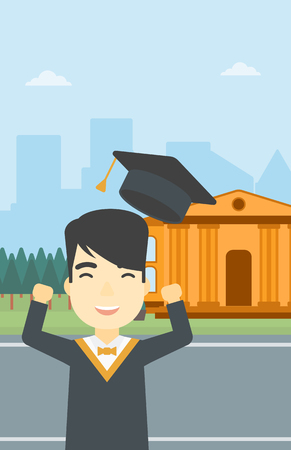 graduate asian: An asian excited graduate in cloak and graduation hat. Graduate throwing up his hat. Graduate celebrating on a background of educational building. Vector flat design illustration. Vertical layout.