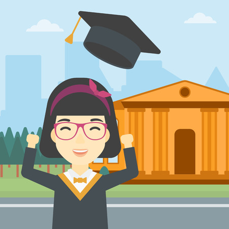 An asian excited graduate in cloak and graduation hat. Graduate throwing up her hat. Graduate celebrating on a background of educational building. Vector flat design illustration. Square layout. Illustration