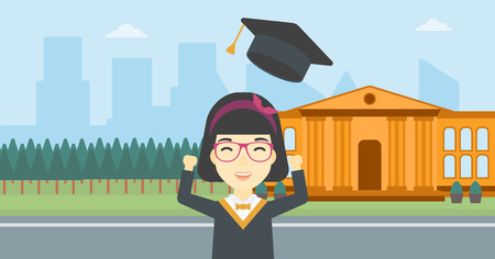 graduate asian: An asian excited graduate in cloak and graduation hat. Graduate throwing up her hat. Graduate celebrating on a background of educational building. Vector flat design illustration. Horizontal layout.