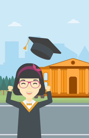 cloak: An asian excited graduate in cloak and graduation hat. Graduate throwing up her hat. Graduate celebrating on a background of educational building. Vector flat design illustration. Vertical layout. Illustration