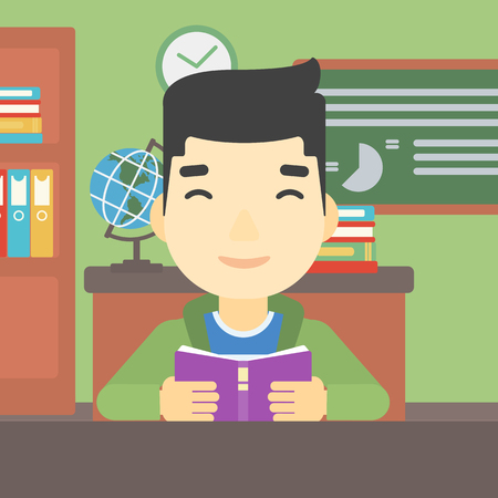 An asian student reading a book. Student reading book and preparing for exam. Student studying at classroom. Education concept. Vector flat design illustration. Square layout. Illusztráció
