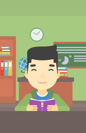 asian student: An asian student reading a book. Student reading book and preparing for exam. Student studying at classroom. Education concept. Vector flat design illustration. Vertical layout.