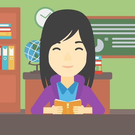 An asian female student reading a book. Student reading book and preparing for exam. Student studying at classroom. Education concept. Vector flat design illustration. Square layout. Illusztráció
