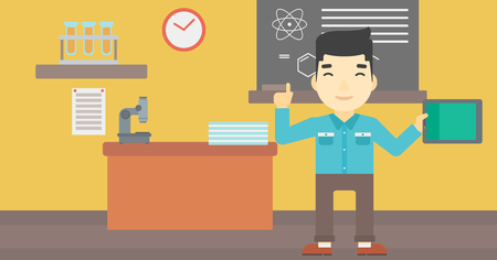 asian student: An asian student using a tablet computer in training class. Young man with tablet computer pointing forefinger up. Education technology. Vector flat design illustration. Horizontal layout. Illustration