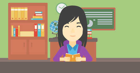 An asian female student reading a book. Student reading book and preparing for exam. Student studying at classroom. Education concept. Vector flat design illustration. Horizontal layout.