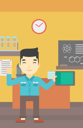 tabletpc: An asian student using a tablet computer in training class. Young man with tablet computer pointing forefinger up. Education technology. Vector flat design illustration. Vertical layout.