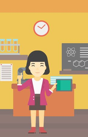 An asian student using a tablet computer in training class. Young woman with tablet computer pointing forefinger up. Education technology. Vector flat design illustration. Vertical layout. Illustration