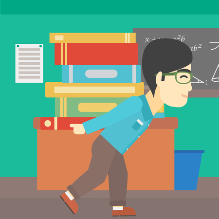 multiple ethnicity: An asian tired student carrying a heavy pile of books on his back. Student with pile of books in the classroom. Student with many books. Vector flat design illustration. Square layout. Illustration