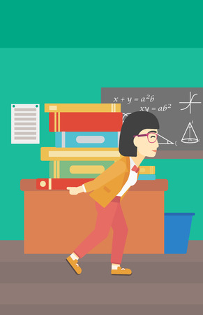 multiple ethnicities: An asian tired student carrying a heavy pile of books on his back. Student with pile of books in the classroom. Student with many books. Vector flat design illustration. Vertical layout.