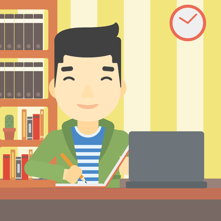 using laptop: An asian young student sitting at the desk with laptop. Student using laptop at home and writing notes. Student working on laptop. Vector flat design illustration. Square layout.