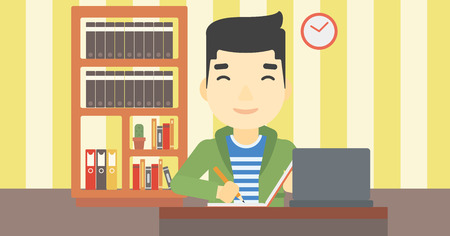 using laptop: An asian young student sitting at the desk with laptop. Student using laptop at home and writing notes. Student working on laptop. Vector flat design illustration. Horizontal layout.