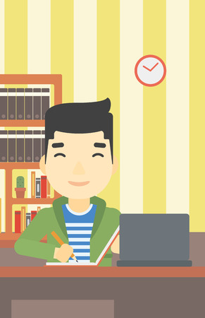 using laptop: An asian young student sitting at the desk with laptop. Student using laptop at home and writing notes. Student working on laptop. Vector flat design illustration. Vertical layout.