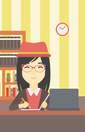 using laptop: An asian young female student sitting at the desk with laptop. Student using laptop at home and writing notes. Student working on laptop. Vector flat design illustration. Vertical layout.