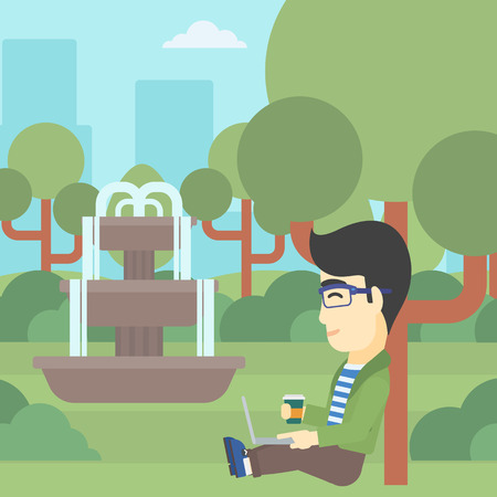An asian young student with cup of coffee sitting in the park and using laptop. Student working on laptop outdoor. Student with laptop in park. Vector flat design illustration. Square layout. Illustration