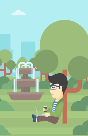 An asian young student with cup of coffee sitting in the park and using laptop. Student working on laptop outdoor. Student with laptop in park. Vector flat design illustration. Vertical layout. Illustration