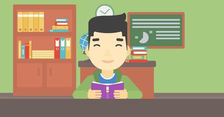 asian student: An asian student reading a book. Student reading book and preparing for exam. Student studying at classroom. Education concept. Vector flat design illustration. Horizontal layout. Illustration