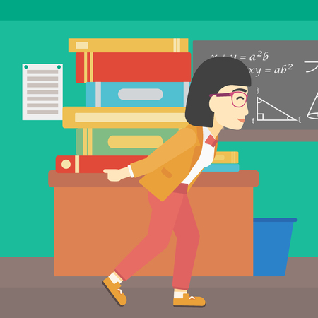 An asian tired student carrying a heavy pile of books on his back. Student with pile of books in the classroom. Student with many books. Vector flat design illustration. Square layout. Illustration