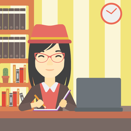 asian student: An asian young female student sitting at the desk with laptop. Student using laptop at home and writing notes. Student working on laptop. Vector flat design illustration. Square layout.