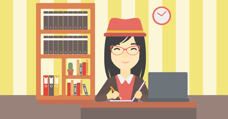 An asian young female student sitting at the desk with laptop. Student using laptop at home and writing notes. Student working on laptop. Vector flat design illustration. Horizontal layout. Illustration