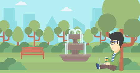 college students campus: An asian young student with cup of coffee sitting in the park and using laptop. Student working on laptop outdoor. Student with laptop in park. Vector flat design illustration. Horizontal layout.