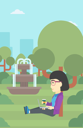 laptop outside: An asian young student with cup of coffee sitting in the park and using laptop. Student working on laptop outdoor. Student with laptop in park. Vector flat design illustration. Vertical layout. Illustration