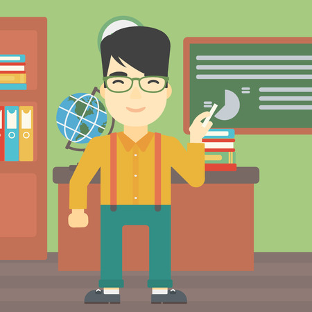classroom teacher: An asian young teacher standing in classroom. Teacher standing in front of the blackboard with a piece of chalk in hand. Vector flat design illustration. Square layout.