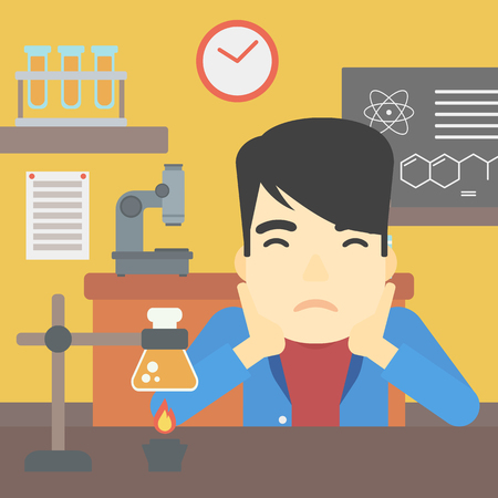 chemistry class: An asian young student carrying out experiment in science class. Student working at laboratory class. Student clutching head at chemistry class. Vector flat design illustration. Square layout.