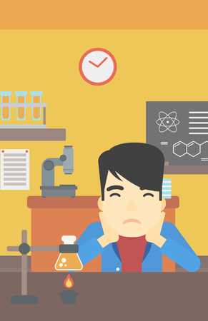 chemistry class: An asian young student carrying out experiment in science class. Student working at laboratory class. Student clutching head at chemistry class. Vector flat design illustration. Vertical layout. Illustration