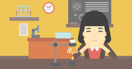 An asian young student carrying out experiment in science class. Student working at laboratory class. Student clutching head at chemistry class. Vector flat design illustration. Horizontal layout. Иллюстрация
