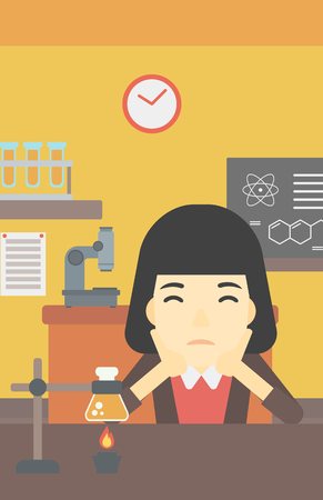 carrying out: An asian young student carrying out experiment in science class. Student working at laboratory class. Student clutching head at chemistry class. Vector flat design illustration. Vertical layout. Illustration