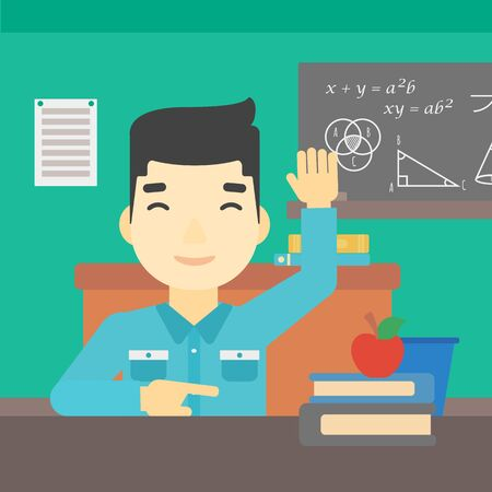 asian student: An asian young student raising hand in the classroom for an answer. Student sitting at the table with raised hand. Vector flat design illustration. Square layout. Illustration