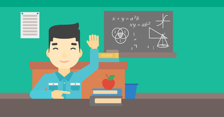 asian student: An asian young student raising hand in the classroom for an answer. Student sitting at the table with raised hand. Vector flat design illustration. Horizontal layout.