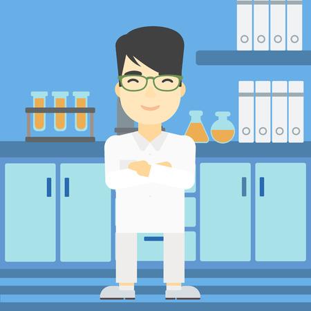 Un ayudante de laboratorio de sexo masculino joven asiático de pie en el fondo del vector de la ilustración de laboratorio diseño plano. de planta cuadrada.