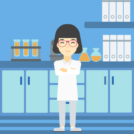 An asian young female laboratory assistant standing on the background of laboratory vector flat design illustration. Square layout. Illustration