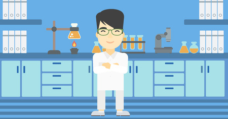 An asian young male laboratory assistant standing on the background of laboratory vector flat design illustration. Horizontal layout. Illusztráció