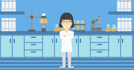 assistant: An asian young female laboratory assistant standing on the background of laboratory vector flat design illustration. Horizontal layout.