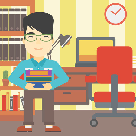 asian man smiling: An asian young student holding pile of books. Man with pile of books in hands at home. Smiling student with stack of books. Vector flat design illustration. Square layout.