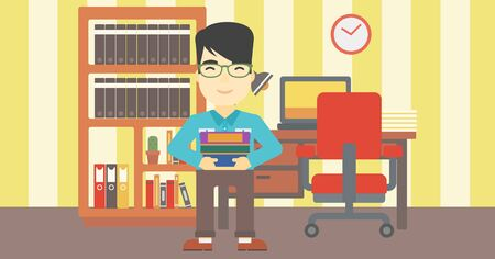 asian man smiling: An asian young student holding pile of books. Man with pile of books in hands at home. Smiling student with stack of books. Vector flat design illustration. Horizontal layout. Illustration