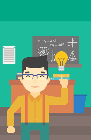 light classroom: An asian young student pointing finger up at the light bulb. Young man with light bulb on a background of classroom. Vector flat design illustration. Vertical layout. Illustration