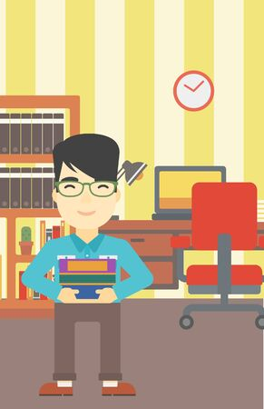 man studying: An asian young student holding pile of books. Man with pile of books in hands at home. Smiling student with stack of books. Vector flat design illustration. Vertical layout.