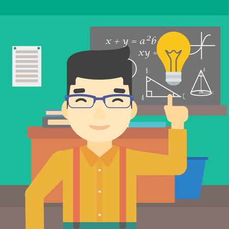 light classroom: An asian young student pointing finger up at the light bulb. Young man with light bulb on a background of classroom. Vector flat design illustration. Square layout. Illustration