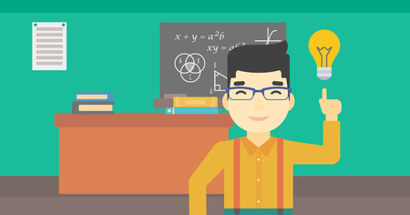 light classroom: An asian young student pointing finger up at the light bulb. Young man with light bulb on a background of classroom. Vector flat design illustration. Horizontal layout. Illustration