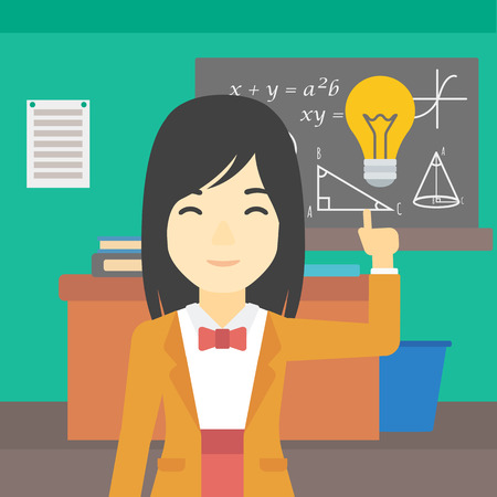 light classroom: An asian young student pointing finger up at the light bulb. Young woman with light bulb on a background of classroom. Vector flat design illustration. Square layout. Illustration