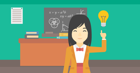light classroom: An asian young student pointing finger up at the light bulb. Young woman with light bulb on a background of classroom. Vector flat design illustration. Horizontal layout. Illustration