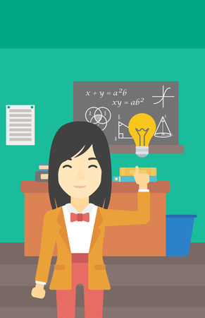 light classroom: An asian young student pointing finger up at the light bulb. Young woman with light bulb on a background of classroom. Vector flat design illustration. Vertical layout. Illustration