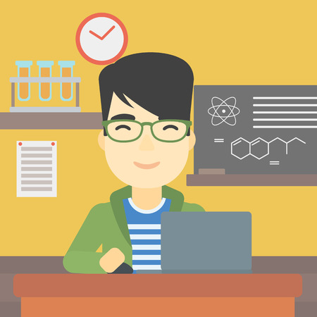 asian man laptop: An asian young student sitting at the table and working on laptop. Man working on a laptop on the background of chemistry class . Vector flat design illustration. Square layout.